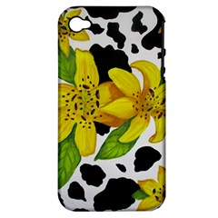 Floral Cow Print Apple Iphone 4/4s Hardshell Case (pc+silicone)