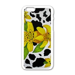 Floral Cow Print Apple Iphone 6/6s White Enamel Case by dawnsiegler