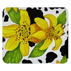 Floral Cow Print Double Sided Flano Blanket (small)  by dawnsiegler