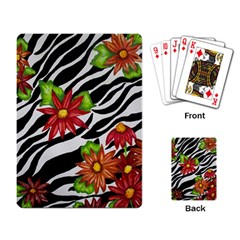 Floral Zebra Print Playing Card by dawnsiegler