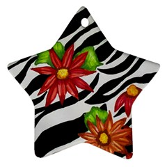 Floral Zebra Print Star Ornament (two Sides)