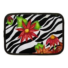 Floral Zebra Print Netbook Case (medium)  by dawnsiegler