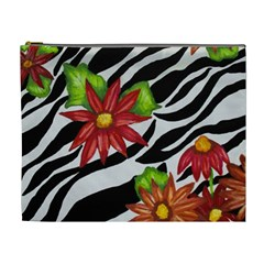 Floral Zebra Print Cosmetic Bag (xl) by dawnsiegler