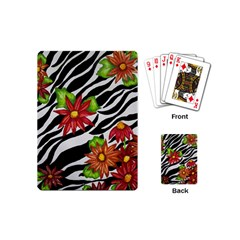 Floral Zebra Print Playing Cards (mini)  by dawnsiegler