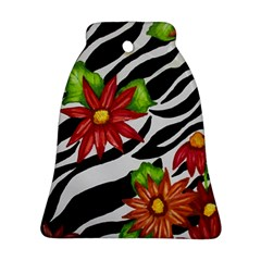 Floral Zebra Print Bell Ornament (two Sides) by dawnsiegler