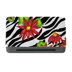 Floral Zebra Print Memory Card Reader With Cf by dawnsiegler