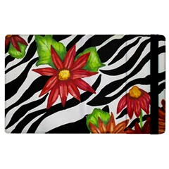 Floral Zebra Print Apple Ipad 3/4 Flip Case by dawnsiegler