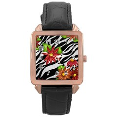 Floral Zebra Print Rose Gold Leather Watch  by dawnsiegler
