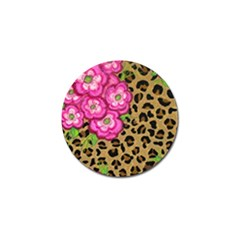 Floral Leopard Print Golf Ball Marker (4 Pack) by dawnsiegler