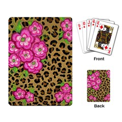 Floral Leopard Print Playing Card by dawnsiegler
