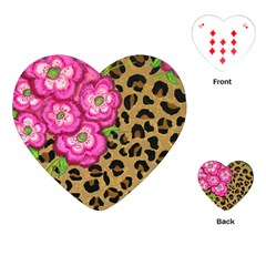 Floral Leopard Print Playing Cards (heart)  by dawnsiegler