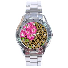 Floral Leopard Print Stainless Steel Analogue Watch by dawnsiegler