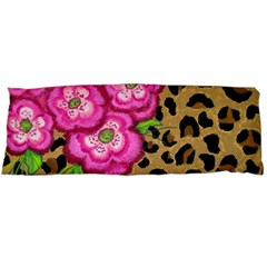 Floral Leopard Print Body Pillow Case Dakimakura (two Sides) by dawnsiegler