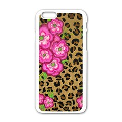 Floral Leopard Print Apple Iphone 6/6s White Enamel Case by dawnsiegler