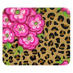 Floral Leopard Print Double Sided Flano Blanket (small)  by dawnsiegler