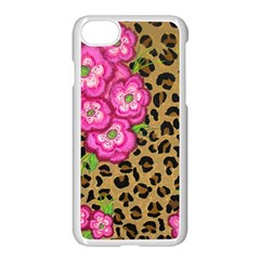 Floral Leopard Print Apple Iphone 7 Seamless Case (white) by dawnsiegler