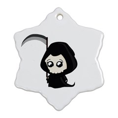 Cute Grim Reaper Snowflake Ornament (two Sides) by Valentinaart