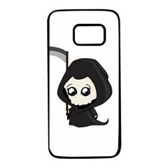 Cute Grim Reaper Samsung Galaxy S7 Black Seamless Case by Valentinaart