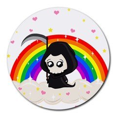 Cute Grim Reaper Round Mousepads by Valentinaart