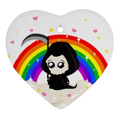 Cute Grim Reaper Ornament (heart) by Valentinaart
