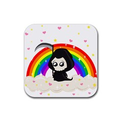 Cute Grim Reaper Rubber Coaster (square)  by Valentinaart