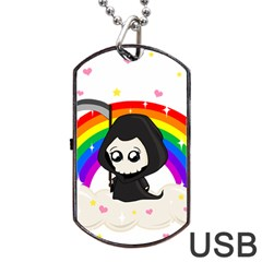 Cute Grim Reaper Dog Tag Usb Flash (one Side) by Valentinaart