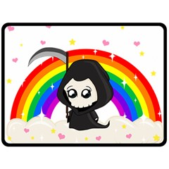 Cute Grim Reaper Double Sided Fleece Blanket (large)  by Valentinaart