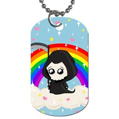 Cute Grim Reaper Dog Tag (two Sides) by Valentinaart