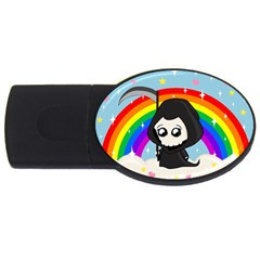 Cute Grim Reaper Usb Flash Drive Oval (4 Gb) by Valentinaart