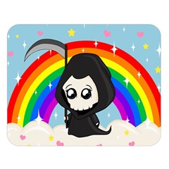 Cute Grim Reaper Double Sided Flano Blanket (large)  by Valentinaart
