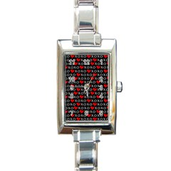 Xoxo Valentines Day Pattern Rectangle Italian Charm Watch by Valentinaart