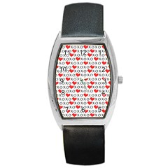Xoxo Valentines Day Pattern Barrel Style Metal Watch by Valentinaart