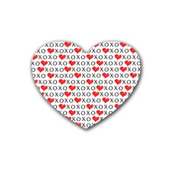 Xoxo Valentines Day Pattern Rubber Coaster (heart)  by Valentinaart