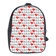 Xoxo Valentines Day Pattern School Bag (xl) by Valentinaart