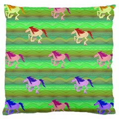 Rainbow Ponies Large Cushion Case (two Sides) by CosmicEsoteric