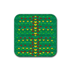 Love Is In All Of Us To Give And Show Rubber Coaster (square)  by pepitasart