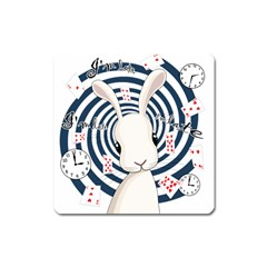 White Rabbit In Wonderland Square Magnet by Valentinaart