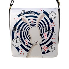 White Rabbit In Wonderland Flap Messenger Bag (l)  by Valentinaart