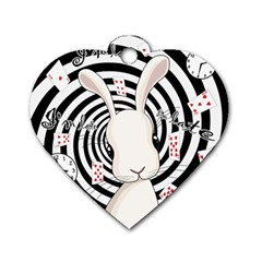White Rabbit In Wonderland Dog Tag Heart (two Sides)