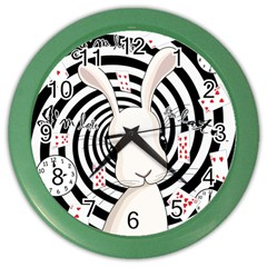 White Rabbit In Wonderland Color Wall Clocks by Valentinaart