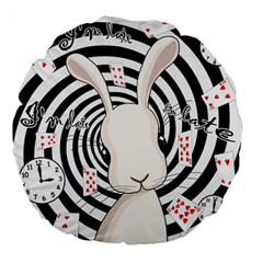 White Rabbit In Wonderland Large 18  Premium Round Cushions by Valentinaart