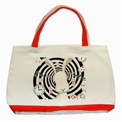 White Rabbit In Wonderland Classic Tote Bag (red) by Valentinaart