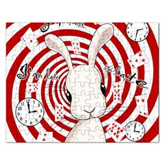 White Rabbit In Wonderland Rectangular Jigsaw Puzzl by Valentinaart