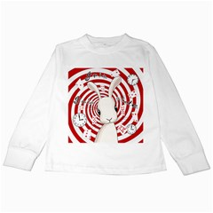White Rabbit In Wonderland Kids Long Sleeve T Shirts