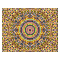 Wood Festive Rainbow Mandala Rectangular Jigsaw Puzzl by pepitasart