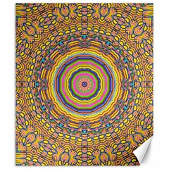 Wood Festive Rainbow Mandala Canvas 20  X 24   by pepitasart
