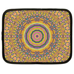 Wood Festive Rainbow Mandala Netbook Case (large) by pepitasart