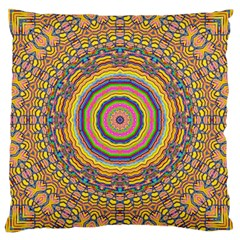 Wood Festive Rainbow Mandala Large Cushion Case (two Sides) by pepitasart