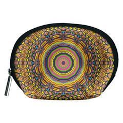 Wood Festive Rainbow Mandala Accessory Pouches (medium)  by pepitasart