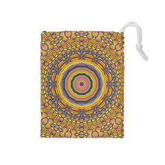 Wood Festive Rainbow Mandala Drawstring Pouches (medium)  by pepitasart